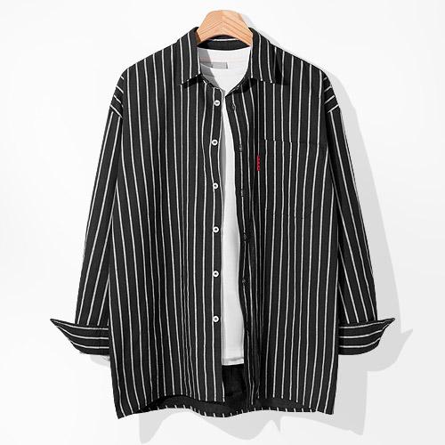 제이에이치스타일 남성용 오버핏 포켓 스트라이프 긴팔 셔츠