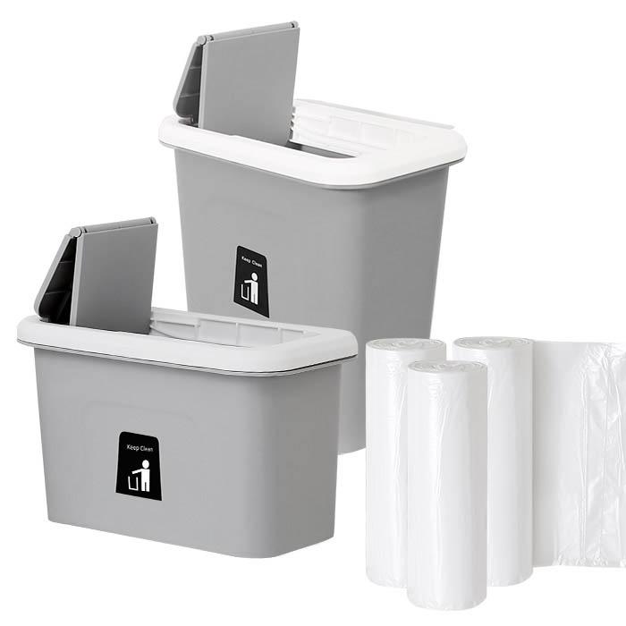 모던데일 걸이형 음식물 쓰레기통 2p + 비닐봉투 90p, 그레이
