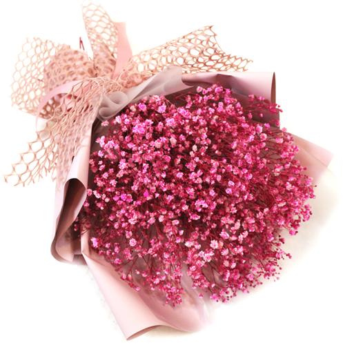 프리저브드 한아름 안개 꽃다발, 핑크