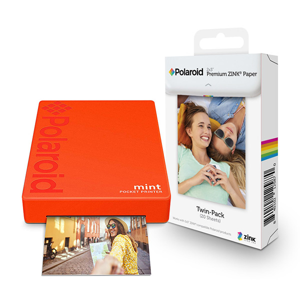 폴라로이드 스마트폰 포토 프린터 Mint Printer 레드 + 인화지 20p, POLMP02