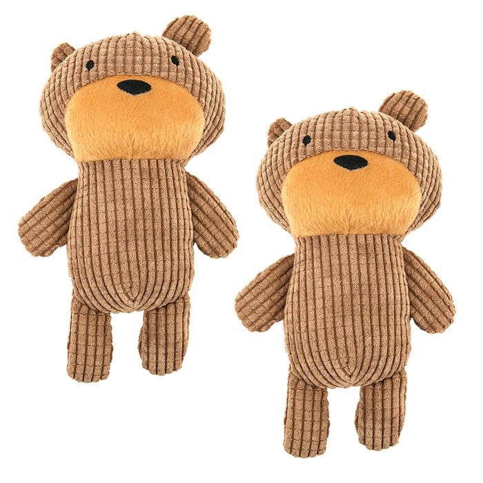 딩동펫 반려동물 장난감 곰인형 22 x 14 cm, 브라운, 2개입
