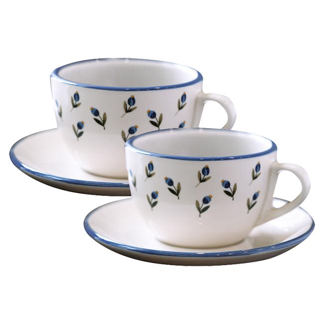 쓰임 아틀리에 커피잔 2인조 세트, 레트로 블루, 1세트