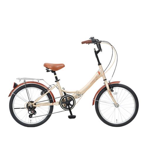 뮤트 아네사20 7단 V브레이크 그립시프터 폴딩 접이식 자전거, 베이지 + 브라운