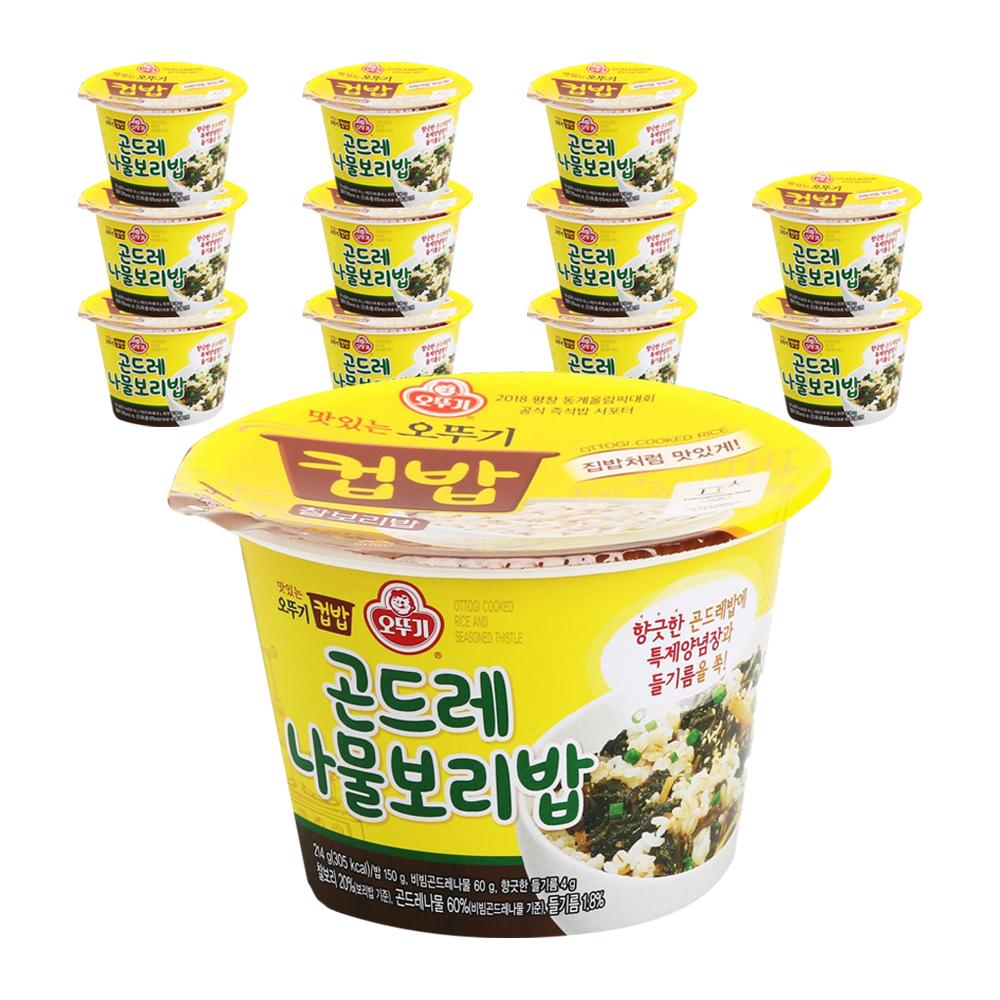 오뚜기 맛있는 오뚜기 컵밥 곤드레 나물보리밥, 214g, 12개입