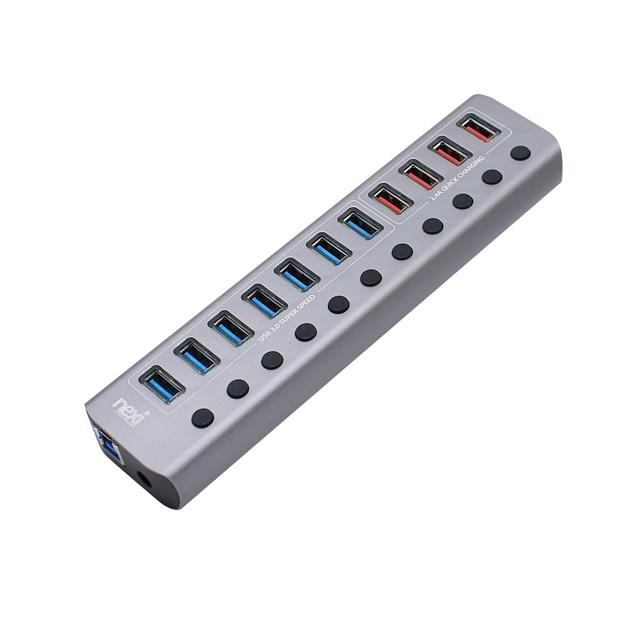 넥시 USB3.0 7포트 + 충전 4포트 + PD3.0 1포트 유전원 허브 NX-U1012P, 혼합 색상