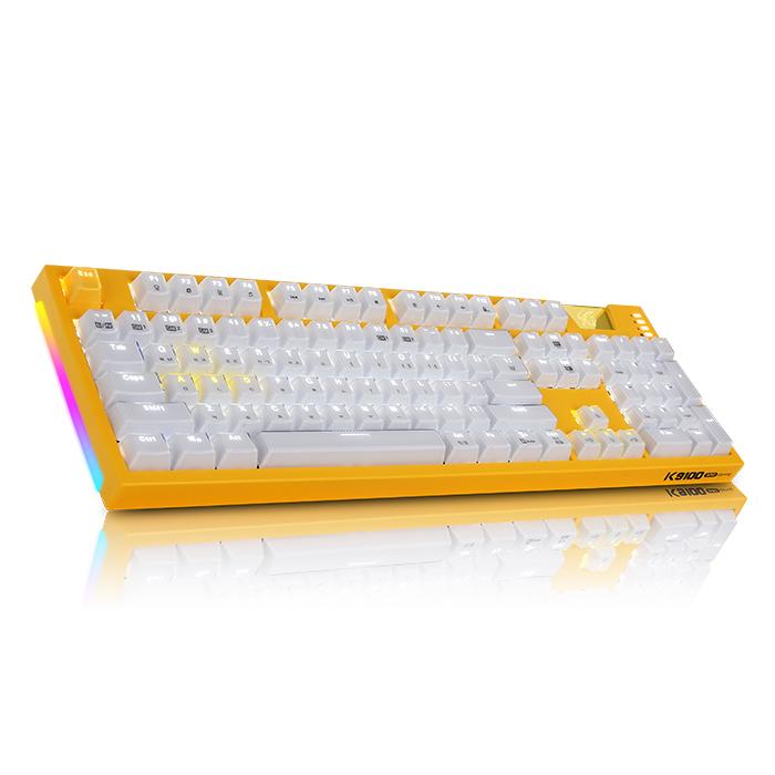 앱코 HACKER ARC 프리미엄 카일광축 방수 크리스탈 키캡 LED 게이밍 클릭 기계식키보드, 옐로우, K9100