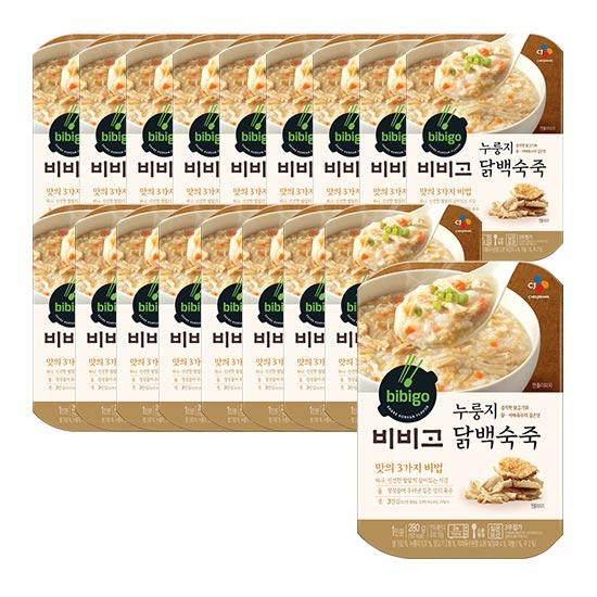 비비고 누룽지 닭백숙죽, 280g, 18개입