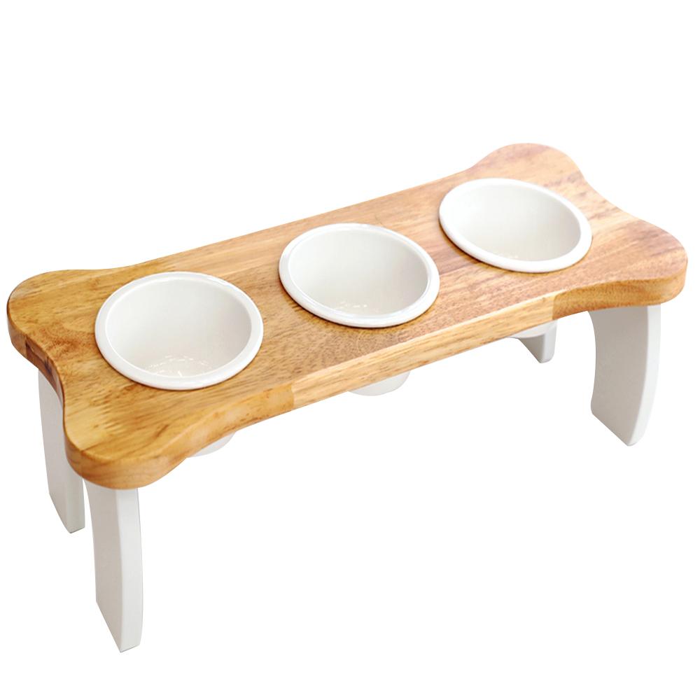 행복한마을 원목 반려동물 식탁 3구 + 식기 3p 세트, 베티화이트, 1세트