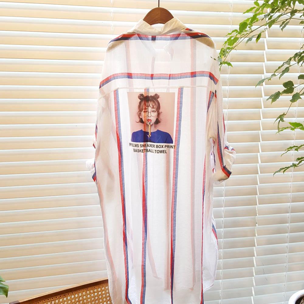 모노타임 컬러 스트라이프 걸 레터링 롱 셔츠 자켓 229