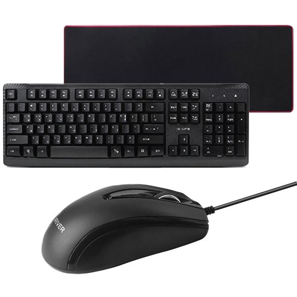 아이리버 유선키보드마우스세트 + 키스킨 + 게이밍 마우스패드, 마우스(EQwear-T20), 패드(GOON Gaming Pad), 블랙