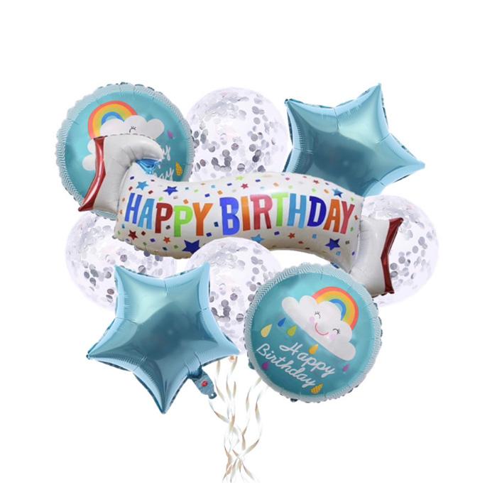 파티데코 레인보우친구 생일파티 풍선장식세트, 블루, 1세트
