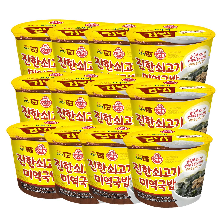 오뚜기 컵밥 진한쇠고기 미역국밥, 284g, 12개입