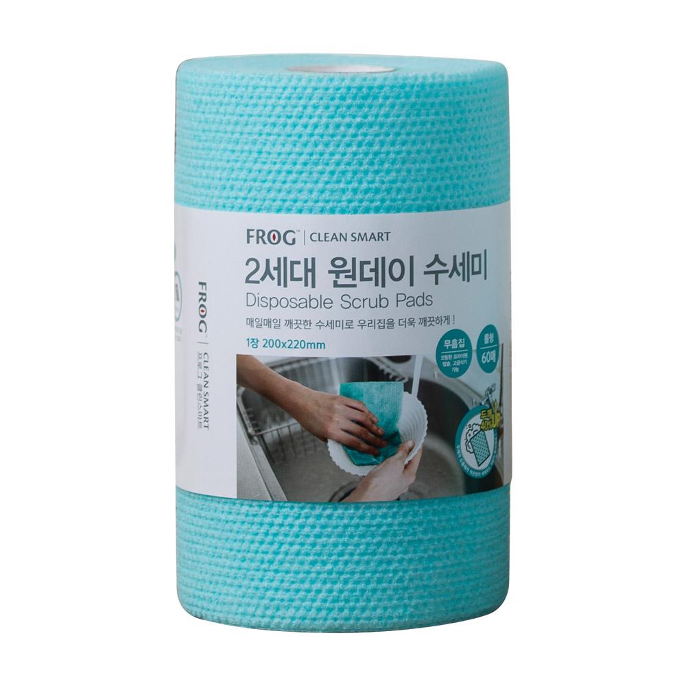 프로그 2세대 엠보싱 일회용 원데이 수세미 롤형 60매, 1개