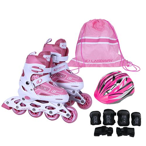 랜드웨이 스피드2 풀세트 인라인 스케이트 + 헬멧 + 보호대 + 가방, 인디핑크