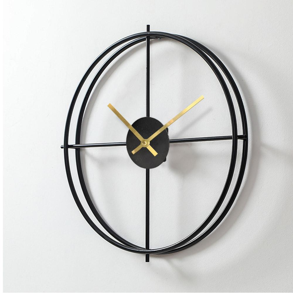 모나코올리브 무소음 철제와이어 인테리어 벽시계, 블랙