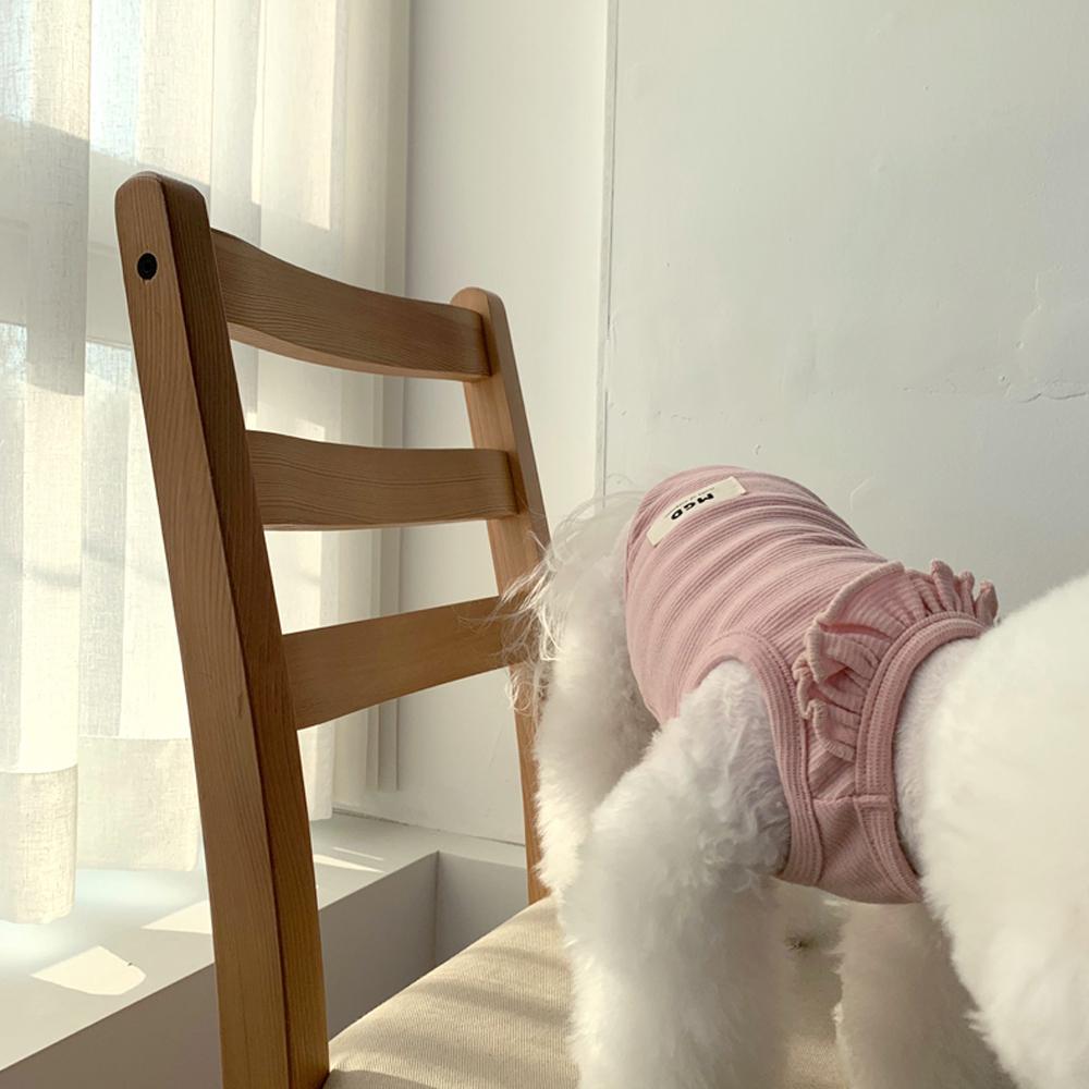 매그독 마카롱 프릴 민소매 티셔츠, 핑크