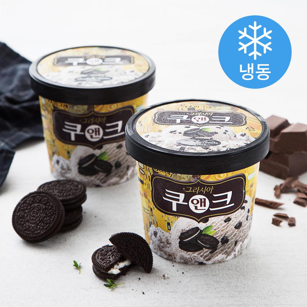 빙그레 그라시아 쿠앤크 아이스크림 (냉동), 710ml, 2개