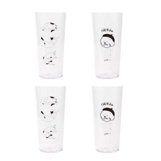 쓰임 애니멀 아이스컵 650ml 슬리핑캣 2p + 마이퍼피 2p 세트, 혼합 색상, 1세트