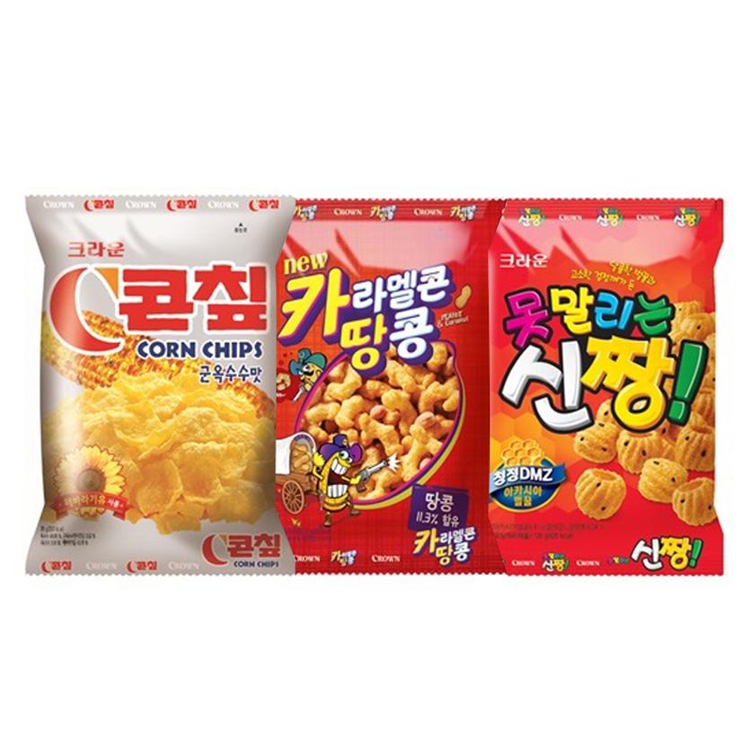 크라운 C콘칩 70g + 카라멜콘 땅콩 72g + 신짱 120g, 1세트