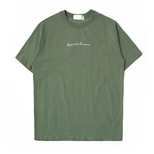 제이에이치스타일 어게인 레터링 슬라브 반팔 티셔츠