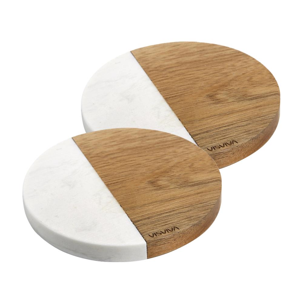 비스비바 아카시아우드 마블패턴석재 킨포크 마블 원형 컵받침 2p, 혼합 색상