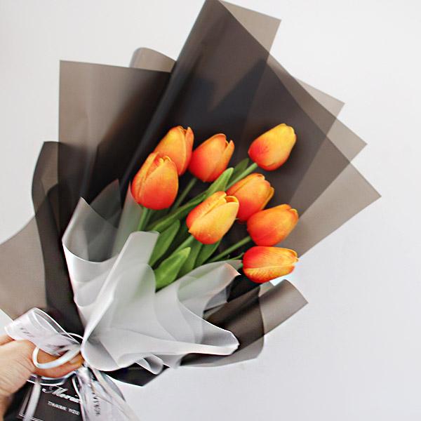 모리앤 조화 튜울립 꽃다발, 오렌지