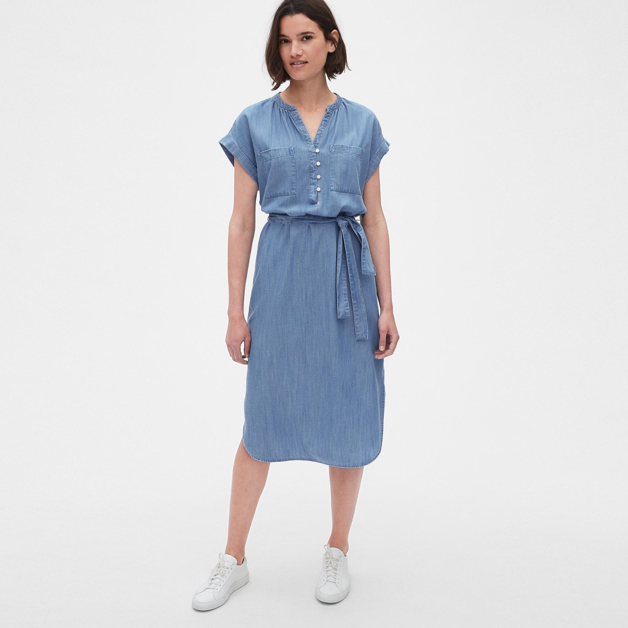갭 여성용 텐셀 롤 슬리브 셔츠 드레스