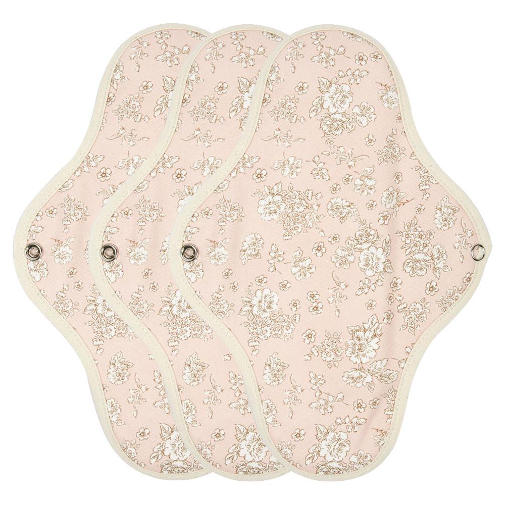 위즐리 방수 면 생리대 대형 핑크플라워, 3개입, 1개