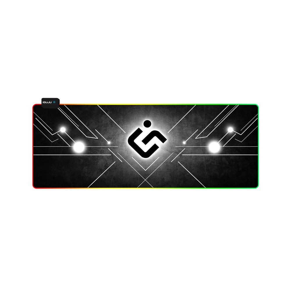 아이구주 G-PAD RGB LED 와이드 게이밍 마우스 장패드, 블랙, 1개
