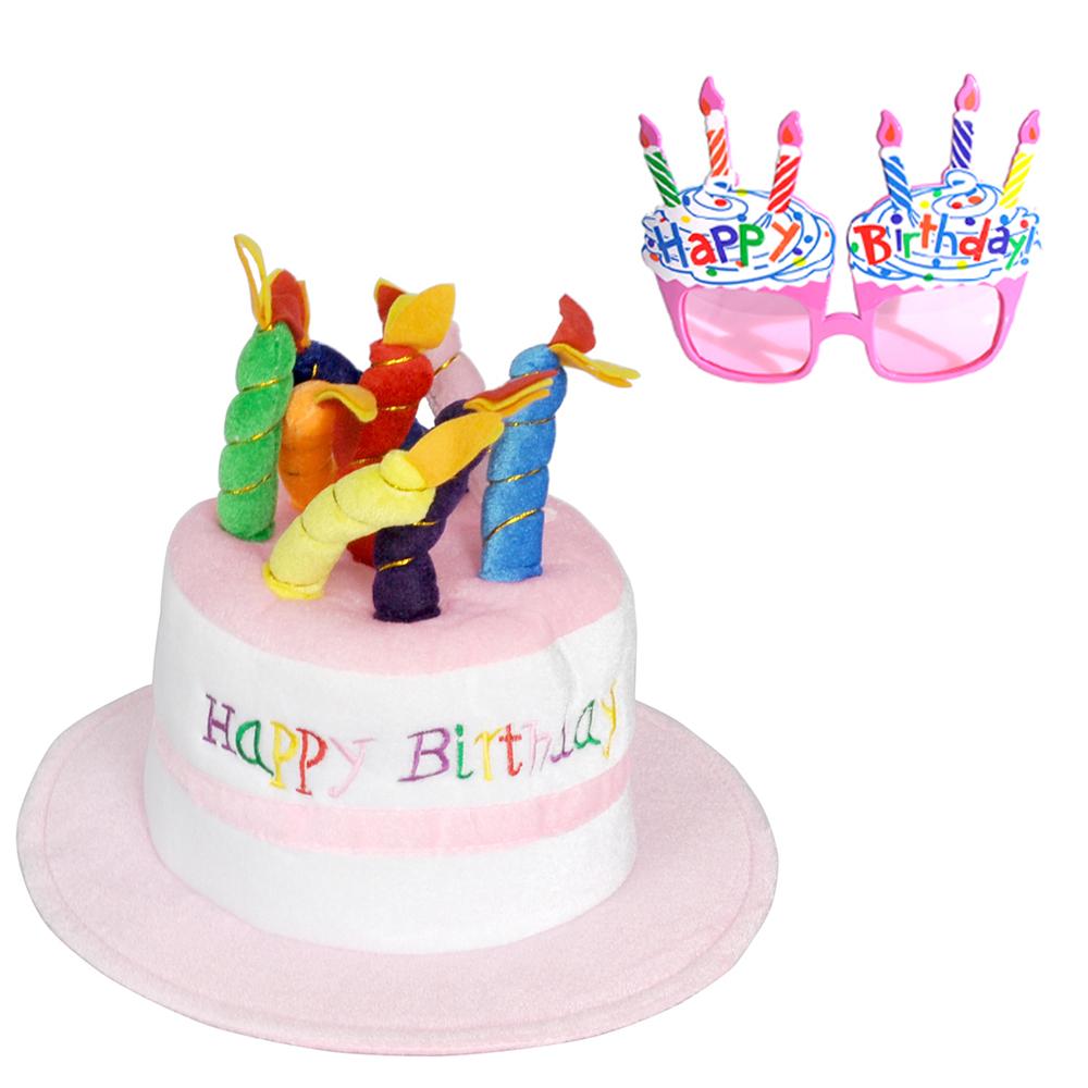파티쇼 생일케익모자 + 컵케익안경, 핑크, 1세트