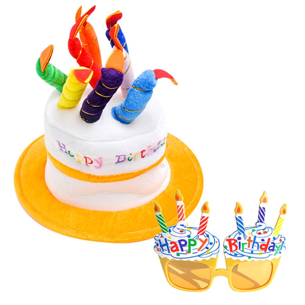 파티쇼 생일케익모자 + 컵케익안경, 옐로우, 1세트