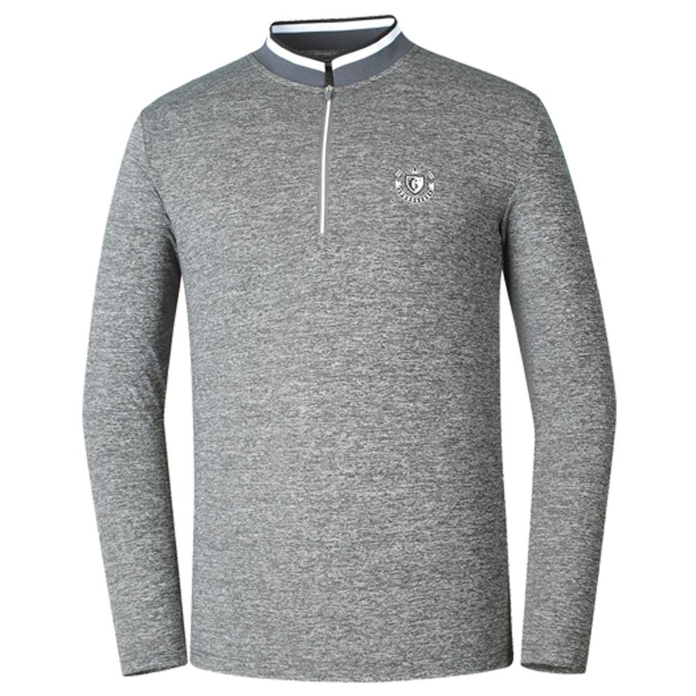 파라고나 남성용 기능성 포인트넥 아웃도어 골프 티셔츠, 회색
