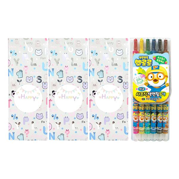 지구화학 어린이집 생일 선물 답례품용 샤프식 색연필 랜덤 발송 4p, 6색