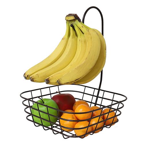 이노카 바나나걸이 다용도과일바구니, 브라운, 1개