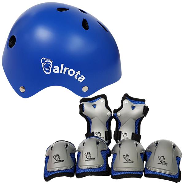발로타 유아동용 헬멧 조절형 + 보호대 세트, 블루