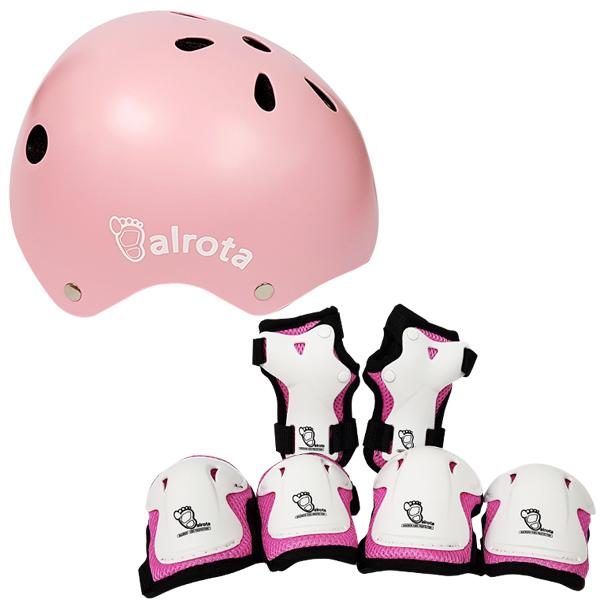 발로타 유아동용 헬멧 조절형 + 보호대 세트, 핑크