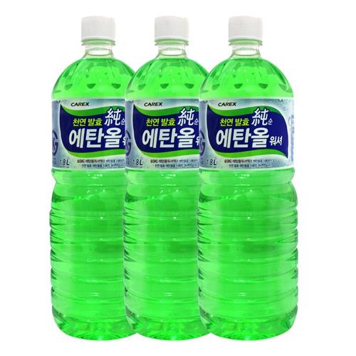 카렉스 천연 발효 순 에탄올 워셔액, 1.8L, 3개