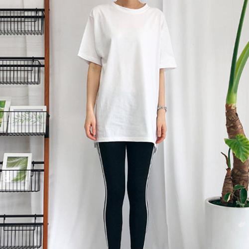 제이에이치스타일 롱 트임 레이어드 반팔 기본 티셔츠