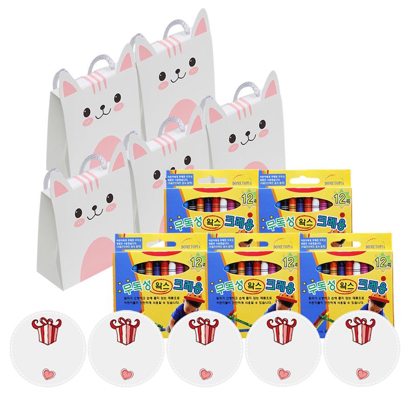 킨더맘 어린이집 생일선물 크레용 12색 5p 세트, 핑크, 1세트