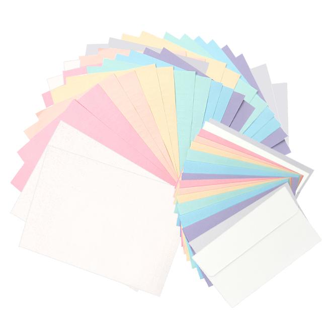 투영디자인 레인보우 파스텔 편지지 8종 x 4p + 봉투 8종 2p 세트, Cream, Sweet Pink, Apricot, Yellow, Mint, Blue, Purple, Gray, 1세트
