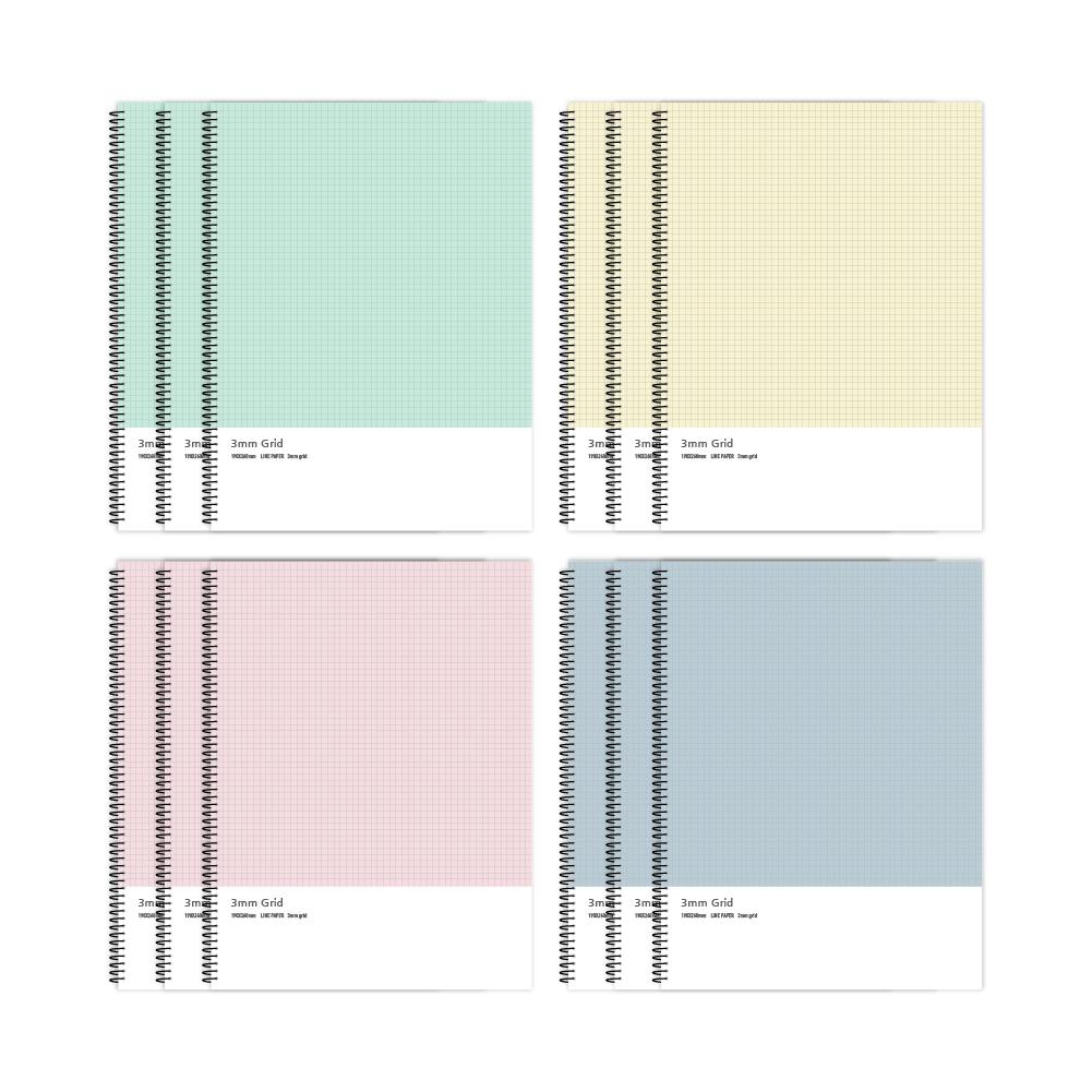 마이플러스 3mm 1000 그리드 노트 4종 23-5822, 민트, 옐로우, 핑크, 블루, 3세트