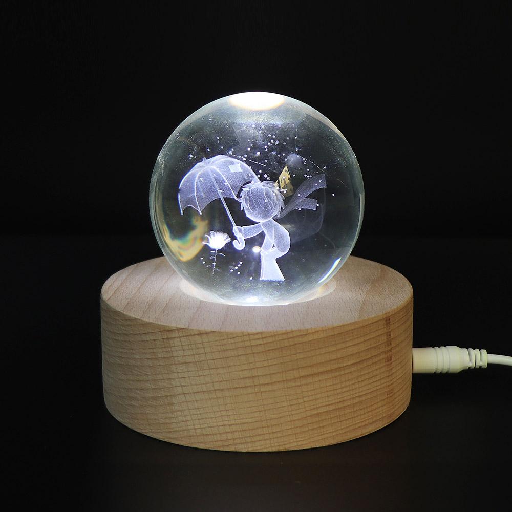 아트조이 LED 3D 크리스탈 구슬 무드등, 장미와 어린왕자