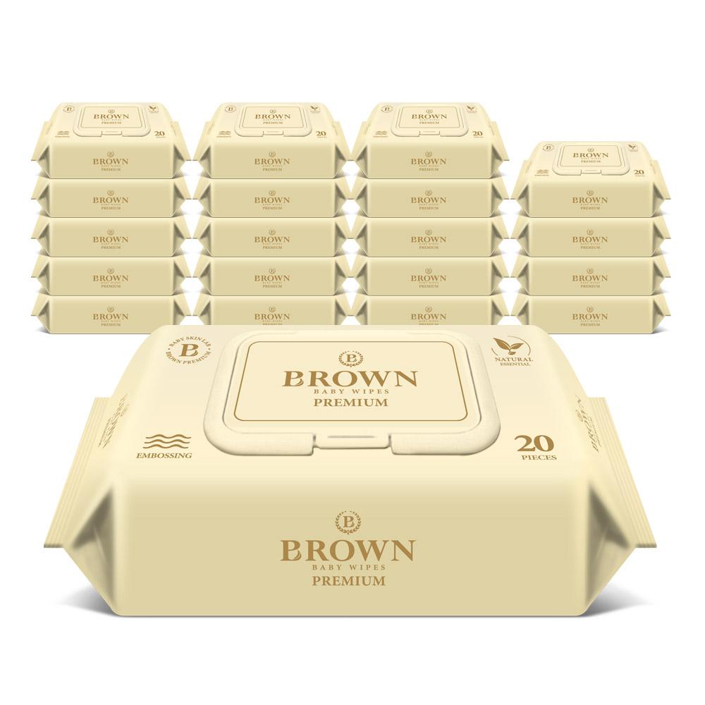브라운 프리미엄 저자극 엠보싱 아기물티슈 휴대용 캡형, 20매, 20팩