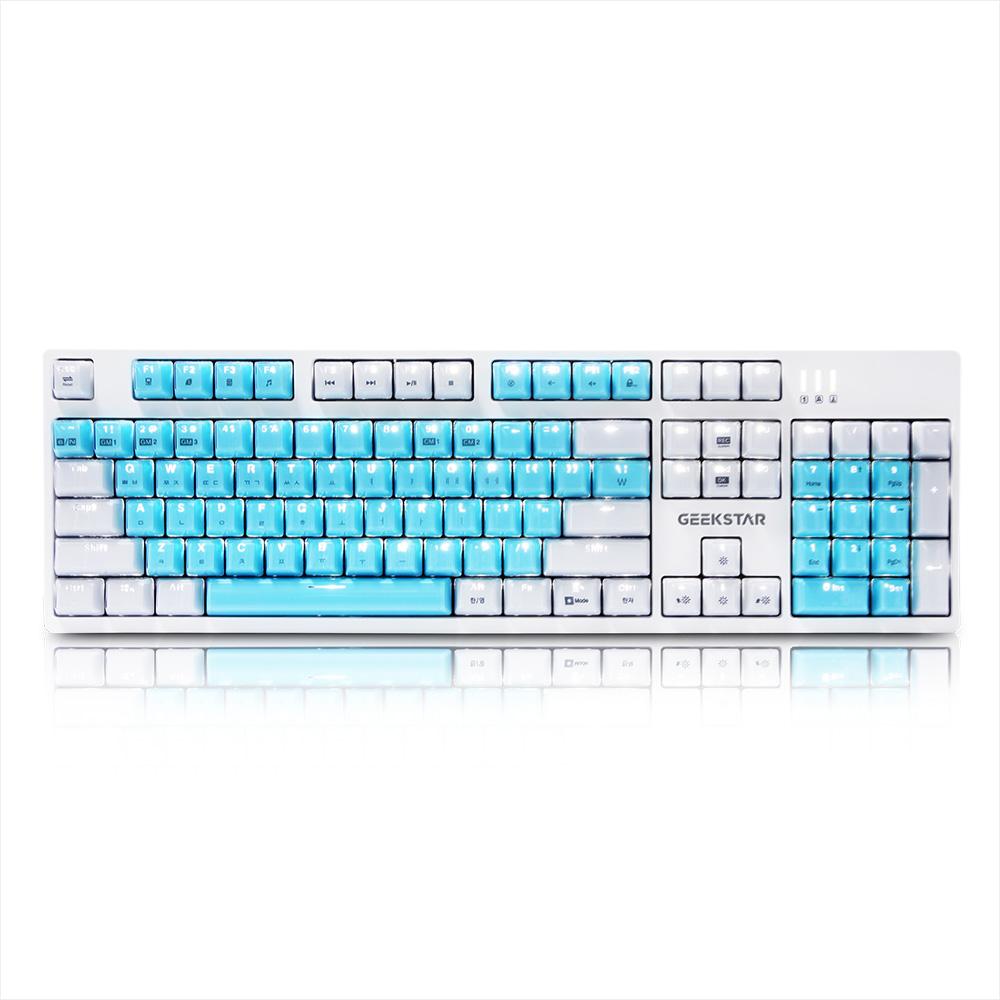 긱스타 프리미엄 카일광축 크리스탈 키캡 클릭 게이밍 기계식 키보드, GK802, 화이트 + 블루