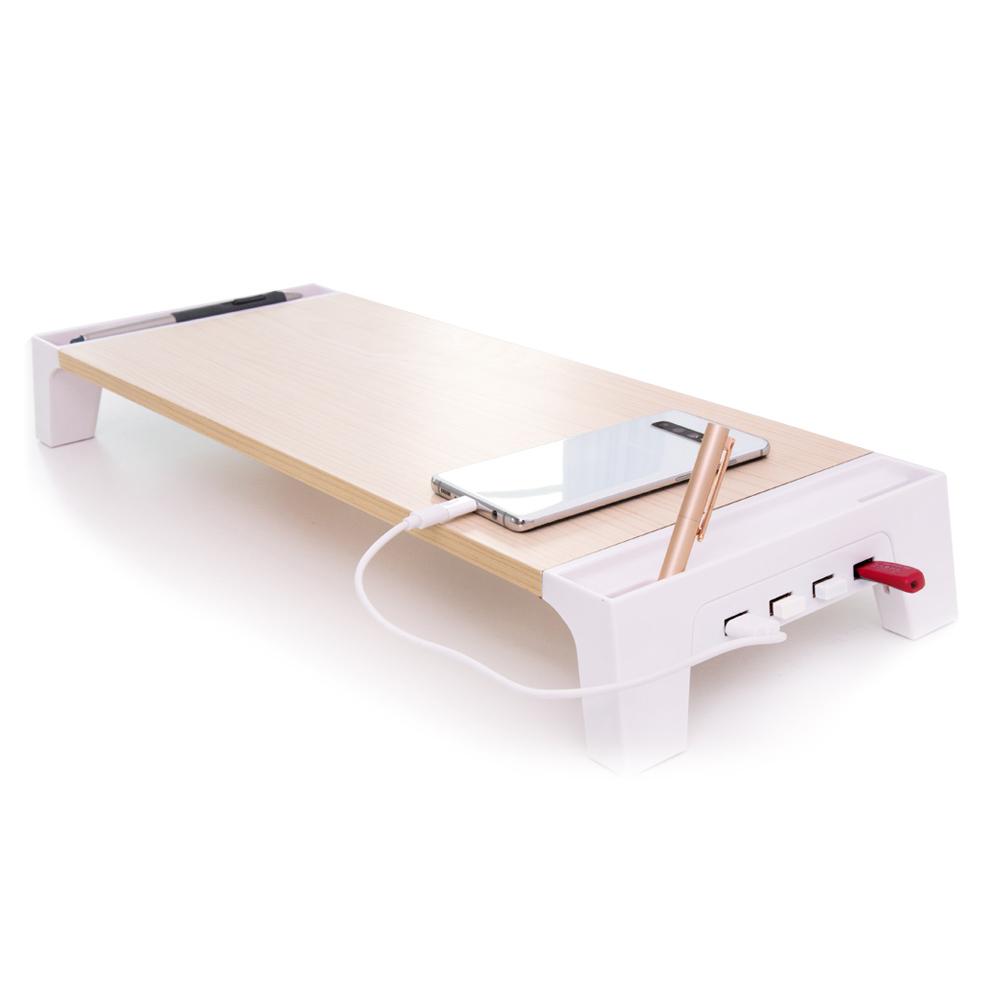 레토 USB허브 장착 우드 모니터 받침대 LMS-W05H, 혼합 색상, 1개
