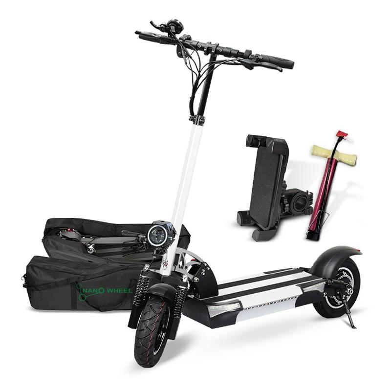 나노휠 전동킥보드 13Ah배터리 + 전용가방 + 휴대폰거치대 + 펌프, NQ-02 PLUS+, 화이트