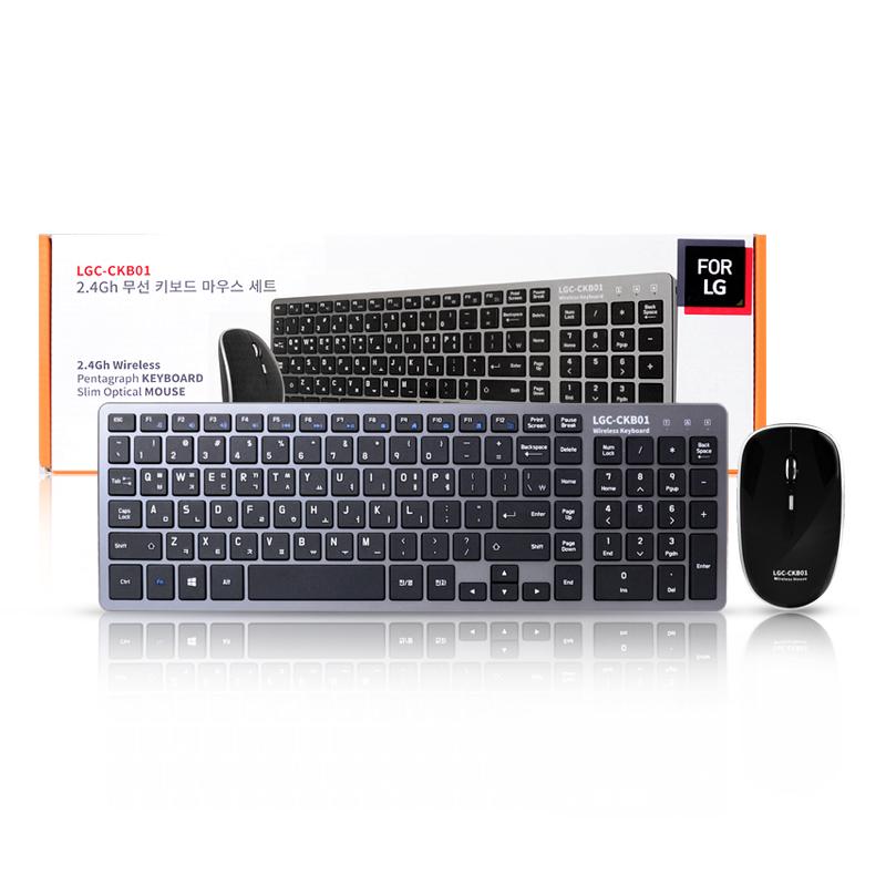 포엘지 무선 데스크탑 키보드 + 마우스 세트, LGC-CKB01, 블랙