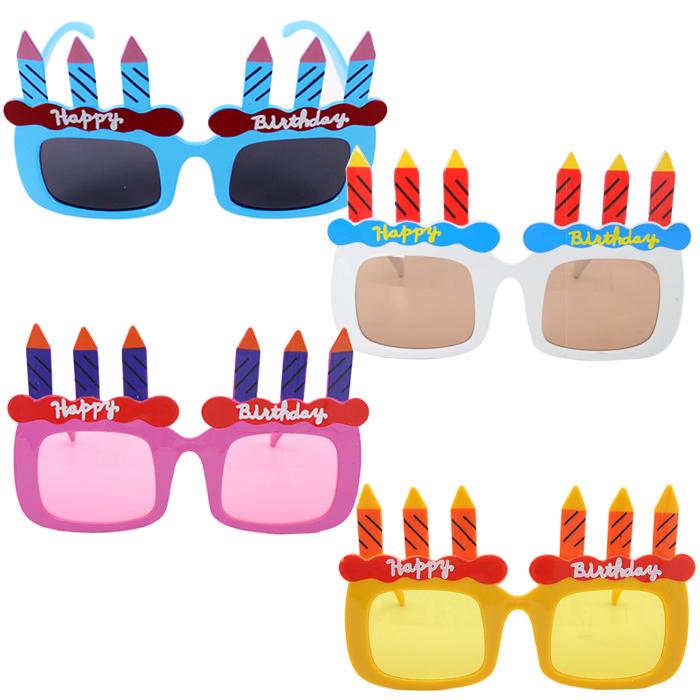 파티쇼 촛불케익 안경 4종, 블루, 옐로우, 핑크, 화이트, 1세트