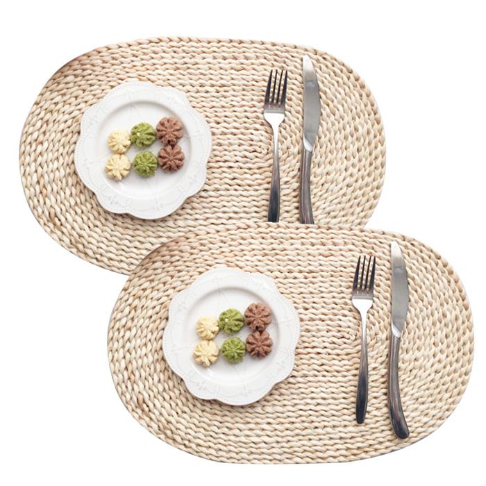 아리코 라탄스타일 스트로 식탁매트 2p, 단일 색상, 30 x 45 cm