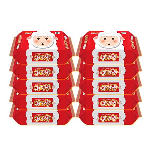 아가양 라이트 유아물티슈 캡형, 100매, 10팩